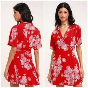 """Free People """"Blue Hawaii"""" Red Floral Dress Sz S"""